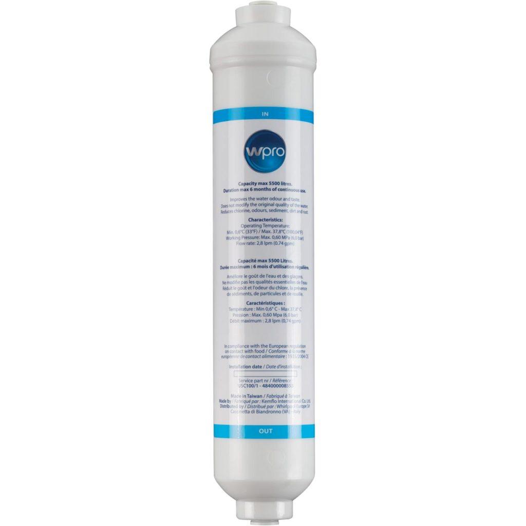Inline water filter for fridge freezer