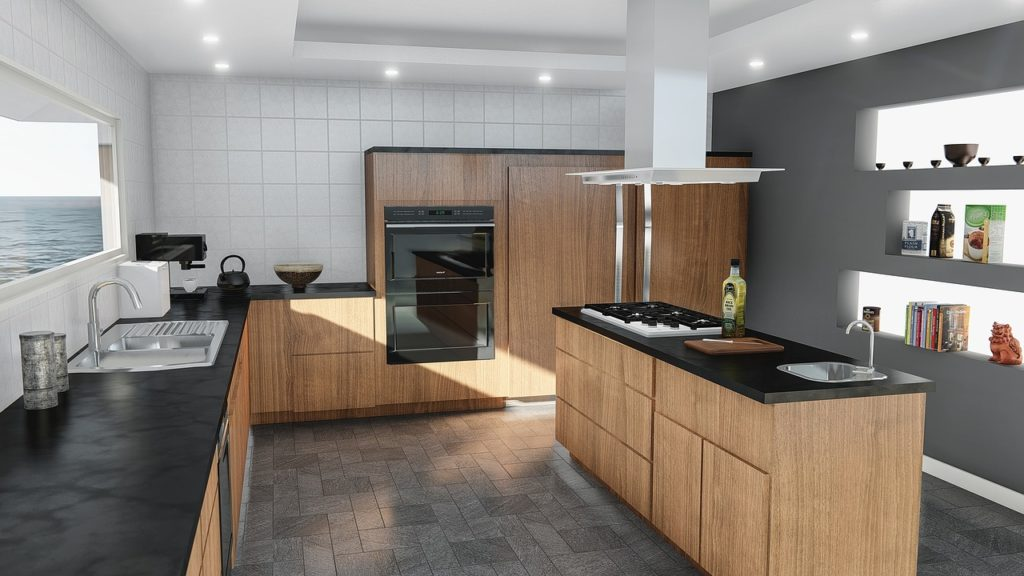 Kitchen design with midi height tall cabinets