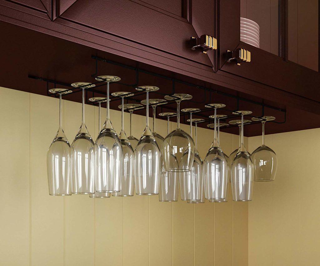 Wine glass hanging rack kitchen