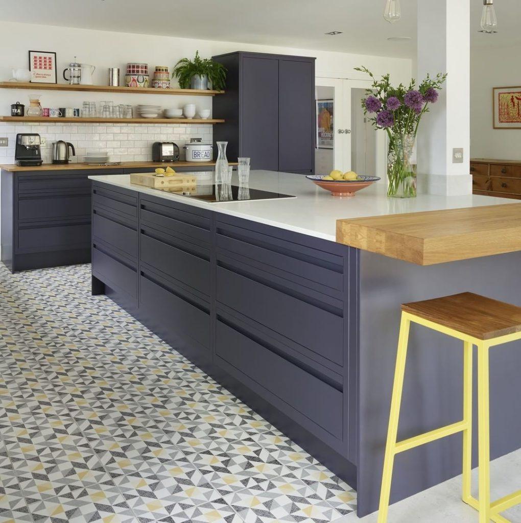 blue handle-less kitchen