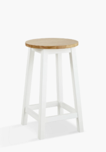 White and wooden bar stool