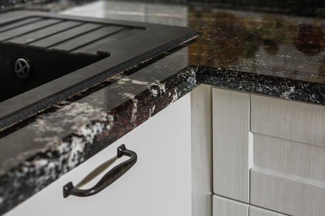 Granite countertop close-up in kitchen