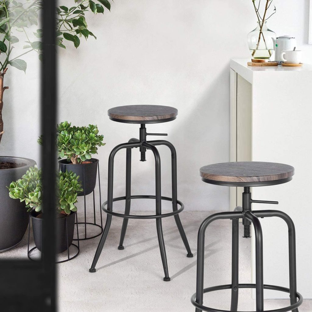 Aingoo Vintage Height Adjustable Industrial Bar Stool