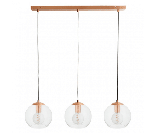 Clear glass and copper metal triple drop ceiling light