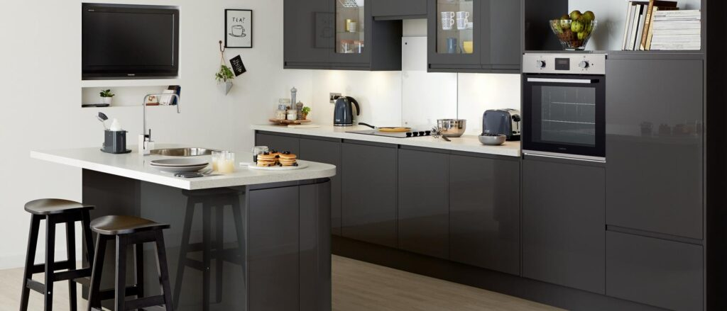 modern kitchen design idea glossy graphite
