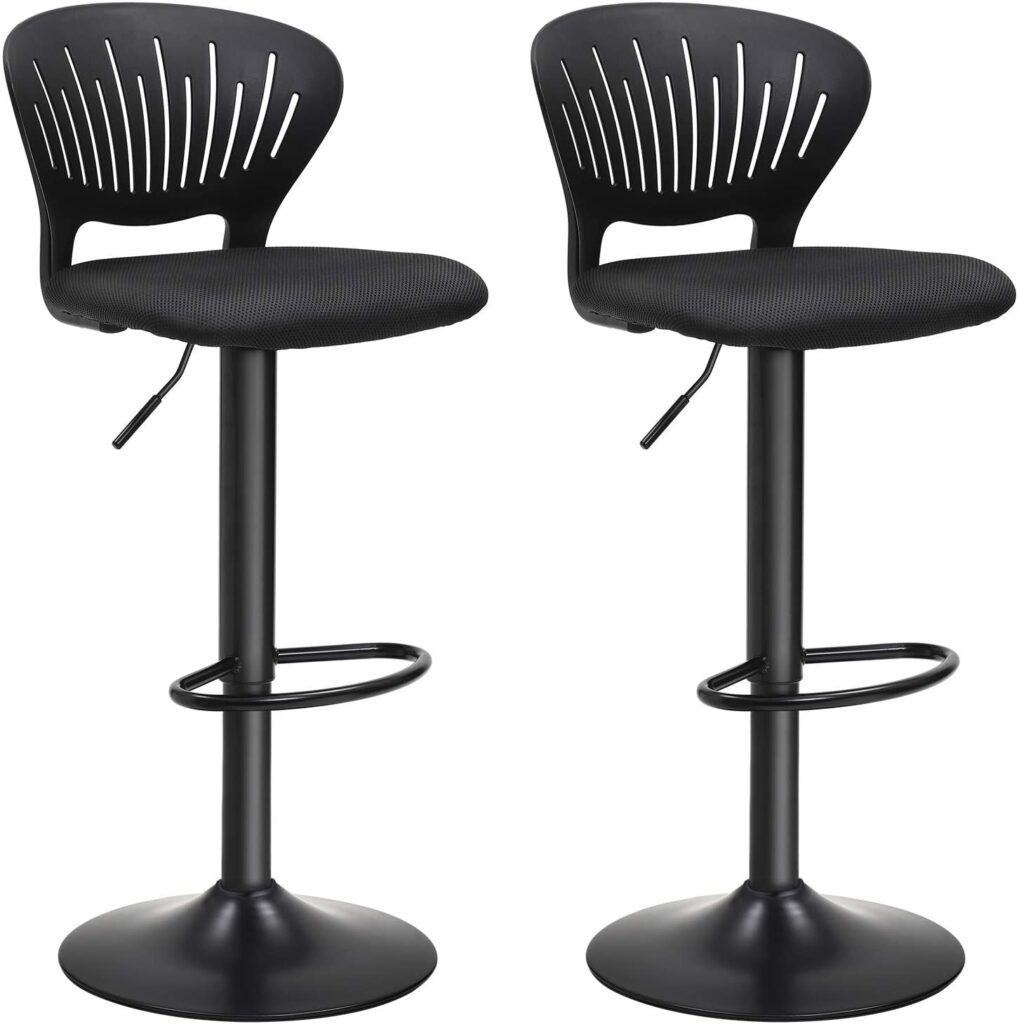 SONGMICS Black Bar Stool (Set of 2)