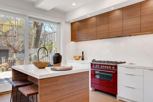 Range cooker in kitchen