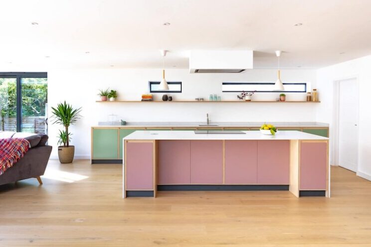 green and pink cabinets
